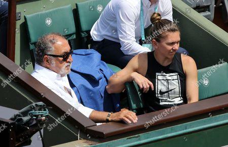 Ion Tiriac in his box with Simona Halep (ROM)