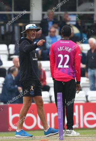 Sussex's coach Jason Jason Gillespie talks with Jofra Archer during the One Day Tour Match between Sussex and Australia at The 1st Central County Ground in Hove. June 07 2018