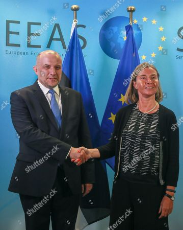 Foreign affairs Minister of Estonia Juri Luik (L) is welcomed by Federica Mogherini, High Representative of the EU for Foreign Affairs and Security Policy, ahead of a meeting at the EEAS in Brussels, Belgium, 04 June 2018.