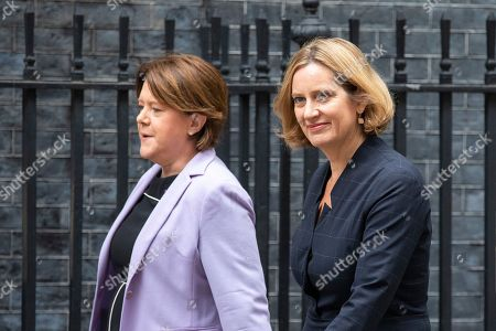 Maria Miller MP (L) and former Home Secretary Amber Rudd MP (R) on Downing Street.
