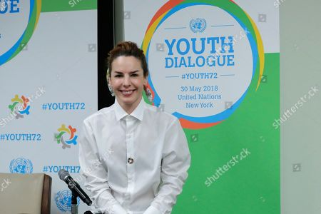 """Stock Picture of Actress Eglantina Zingg participates in a dialogue on the theme """"Missing Peace, the Role of Youth in Conflict Prevention and Sustaining Peace"""" today at the UN Headquarters in New York City."""