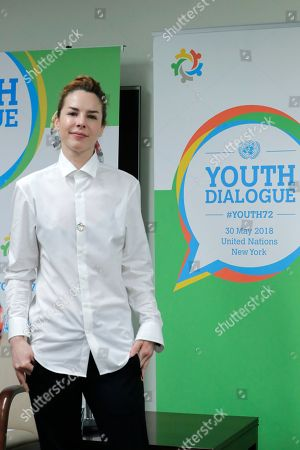 """Actress Eglantina Zingg participates in a dialogue on the theme """"Missing Peace, the Role of Youth in Conflict Prevention and Sustaining Peace"""" today at the UN Headquarters in New York City."""