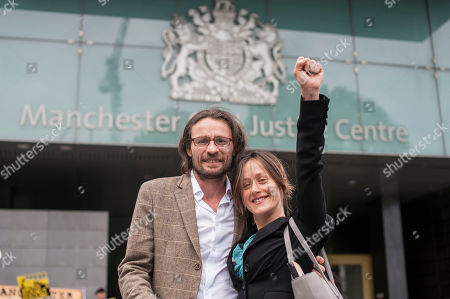 Stock Photo of Joe Boyd and Helen Chuntso outside the Manchester Civil Justice Centre to campaign against the proposed injunction against anti-fracking protests at Cuadrilla fracking site in Lancashire.