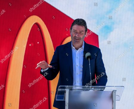 McDonald's Corporation President and CEO Steve Easterbrook speaks during the grand opening of the McDonald's Corporation global headquarters in Chicago, Illinois, USA, 04 June 2018. McDonald's has moved to the West Loop area of Chicago from former headquarters in Oak Brook, Illinois where it was previously located. McDonald's had its headquarters in Chicago from its founding in 1955 until 1971.
