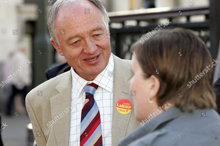 Mayor For London Ken Livingstone debates with local resident Sue Parker