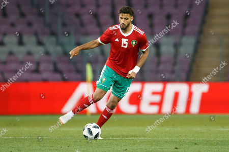 Morocco's midfielder Youssef Ait Bennasser in action during the International Friendly soccer match between Morocco and Slovakia at the Stade de Geneve stadium in Geneva, Switzerland, 04 June 2018.