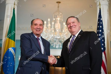 Secretary of State Mike Pompeo, right, meets with Brazilian Foreign Minister Aloysio Nunes Ferreira at the State Department in Washington