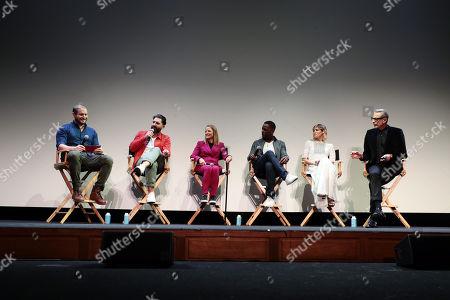 Moderator Dan Casey, Director Drew Pearce, Jodie Foster, Sterling K. Brown, Sofia Boutella and Jeff Goldblum