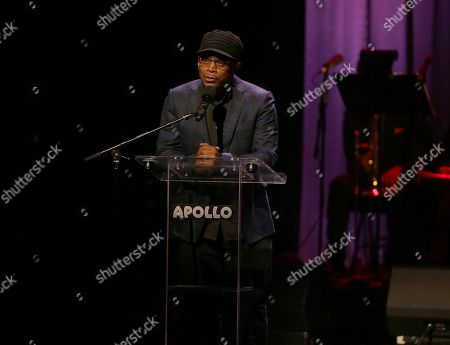 Sway Calloway is seen presenting at the 13th Annual Apollo Theater Spring Gala, in New York