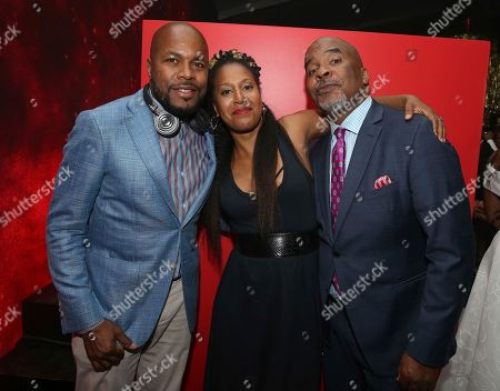 Derrick Jones, Sade Lythcott, David Alan Grier. DJ D-Nice left, Sade Lythcott and David Alan Grier are seen at the 13th Annual Apollo Theater Spring Gala After Party, in New York