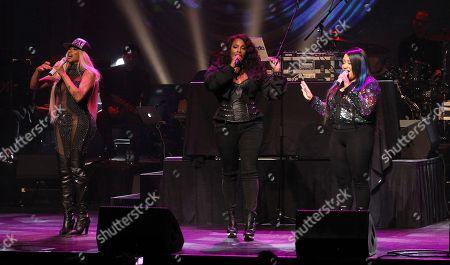 Sandra Denton, Deidra Roper, Cheryl James. Rappers Sandra Denton PEPPA left, Deidra Roper DJ Spinderella and Cheryl James SALT of SALT-N-PEPPA are seen performing at the 13th Annual Apollo Theater Spring Gala, in New York