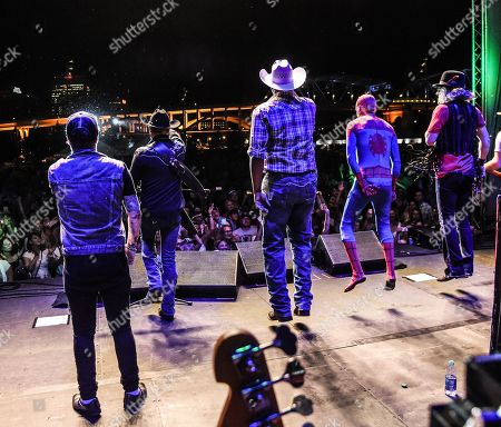 Stock Picture of DJ Sinister, John Rich, Cowboy Troy, Spider-Man, Big Kenny of Big & Rich