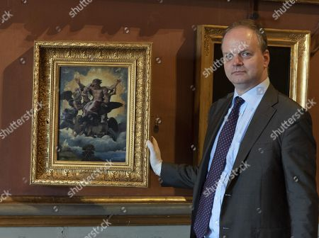 The director of the Uffizi Gallery Eike Schmidt shows 'La visione di Ezechiele' (The Vision of Ezekiel) by Italian painter Raffaello in the occasion of the new staging of works by Raffaello at Palazzo Pitti, in Florence, Italy, 05 June 2018.