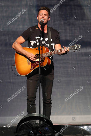 Bastian Baker performs as the opener for Shania Twain during the Shania Now Tour at the Infinite Energy Arena, in Atlanta