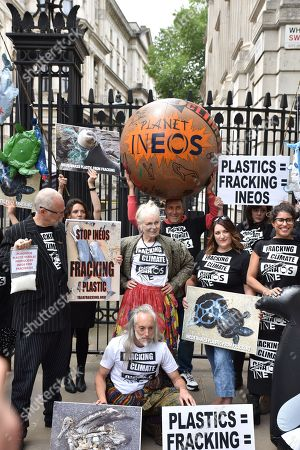 Dame Vivienne Westwood and Joe Corre with Planet Ineos outside Downing Street, their representation of armageddon, which they says is caused by plastic pollution and climate change