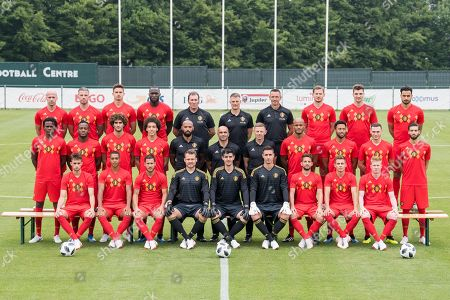 The National Soccer Team of Belgium posing for a team picture with the final selection prior to the 2018 FIFA World Cup at the national training center in Tubize, Belgium, 04 June 2018. (Top row, L-R):  Laurent Ciman, Toby Alderweireld, Leander Dendoncker, Romelu Lukaku, Inaki Vergara goalkeeping coach, Richard Evans, Erwin Lemmens goalkeeping coach, Jan Vertonghen defender, Thomas Meunier, Nacer Chadli. 
