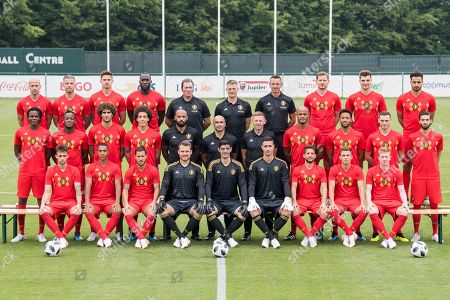 Stock Image of The National Soccer Team of Belgium posing for a team picture with the final selection prior to the 2018 FIFA World Cup at the national training center in Tubize, Belgium, 04 June 2018. (Top row, L-R):  Laurent Ciman, Toby Alderweireld, Leander Dendoncker, Romelu Lukaku, Inaki Vergara goalkeeping coach, Richard Evans, Erwin Lemmens goalkeeping coach, Jan Vertonghen defender, Thomas Meunier, Nacer Chadli. 