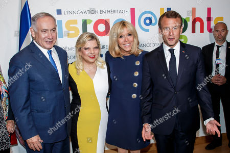 French President Emmanuel Macron (R), his wife Brigitte Macron (2-R) , Israeli Prime Minister Benyamin Netanyahu (L) and his wife Sara Netanyahu pose during the opening ceremony of the France-Israel season event in Paris, France, 05 June 2018.