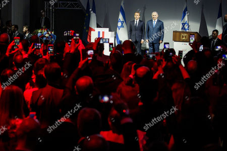 French President Emmanuel Macron (L) and Israeli Prime Minister Benyamin Netanyahu (R) attend the opening ceremony of the France-Israel season event in Paris, France, 05 June 2018.
