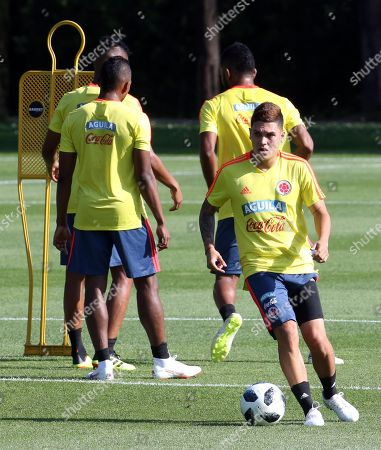 Colombia's midfielder Juan Fernando Quintero  attends a training session at the Milanello training center in Carnago, Milan, Italy, 05 June 2018. Colombia's national soccer team prepares for the FIFA World Cup 2018 taking place in Russia from 14 June to 15 July 2018.