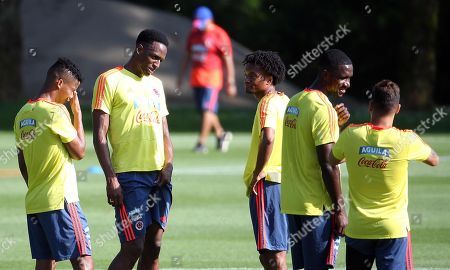 (L-R) Colombia's player Wilmar Barrios, Jerry Mina, Juan Cuadrado, Cristian Zapata and Juan Fernando Quintero attend a training session at the Milanello training center in Carnago, Milan, Italy, 05 June 2018. Colombia's national soccer team prepares for the FIFA World Cup 2018 taking place in Russia from 14 June to 15 July 2018.