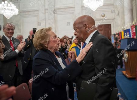 Ethel Kennedy, John Lewis. Ethel Kennedy, widow of Senator Robert F. Kennedy who was assassinated during his 1968 presidential campaign, embraces civil rights leader, Rep. John Lewis, D-Ga., the keynote speaker for the Robert F. Kennedy Human Rights Award ceremony on Capitol Hill in Washington