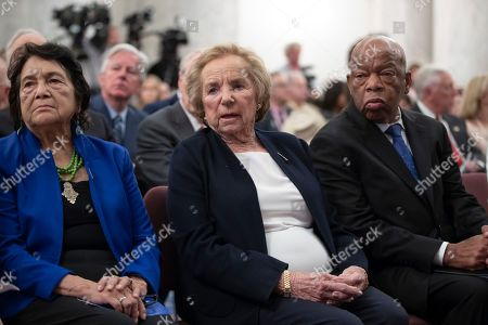 Ethel Kennedy, Dolores Huerta, John Lewis. Ethel Kennedy, center, widow of Senator Robert F. Kennedy who was assassinated during his 1968 presidential campaign, is joined by labor leader and civil rights activist Dolores Huerta, left, and civil rights leader, Rep. John Lewis, D-Ga., right, during the Robert F. Kennedy Human Rights Award ceremony on Capitol Hill in Washington