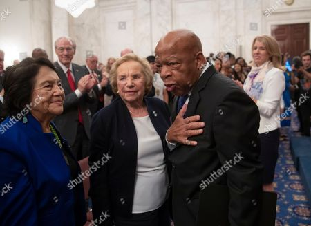 Ethel Kennedy, Dolores Huerta, John Lewis. From left, Dolores Huerta, labor leader and civil rights activist, Ethel Kennedy, widow of Senator Robert F. Kennedy who was assassinated during his 1968 presidential campaign, and civil rights leader Rep. John Lewis, D-Ga., are applauded during the Robert F. Kennedy Human Rights Award ceremony on Capitol Hill in Washington