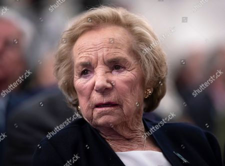 Ethel Kennedy, widow of Senator Robert F. Kennedy who was assassinated during his 1968 presidential campaign, watches a video about her late husband during the Robert F. Kennedy Human Rights awards ceremony on Capitol Hill in Washington