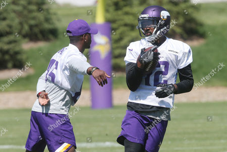 Stock Image of Tavares King. Minnesota Vikings wide receiver Tavarres King runs after a pass play in practice at the NFL football team's training camp in Eagan, Minn