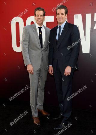 "Cameron Winklevoss, Tyler Winklevoss. Cameron Winklevoss, left, and Tyler Winklevoss attend the world premiere of ""Ocean's 8"" at Alice Tully Hall, in New York"