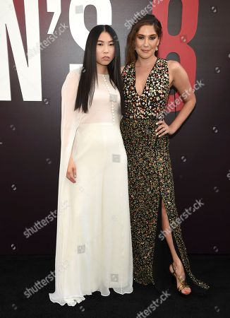 """Awkwafina, Olivia Milch. Awkwafina, left, and screenwriter Olivia Milch attend the world premiere of """"Ocean's 8"""" at Alice Tully Hall, in New York"""