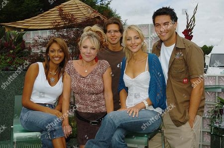 Hollyoaks' Actors (from Left) Sarah Lawrence Helen Pearson Guy Burnet Ali Bastian And Kevin Sacre Pictured In The Mersey Television Garden At The Royal Horticutural Society (rhs) Flower Show At Tatton Park In Knutsford Cheshire; Lawrence Plays Darlene Pearson Plays Frankie Burnet Plays Craig Bastian Plays Becca And Sacre Plays Jake In The Mersey Television Soap Shown On Channel Four.