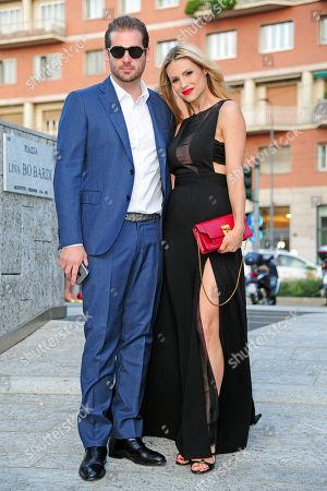 Michelle Hunziker with Tomaso Trussardi