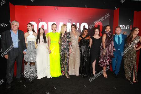 Gary Ross, Cate Blanchett, Awkwafina, Sarah Paulson, Anne Hathaway, Sandra Bullock, Mindy Kaling, Helena Bonham Carter, Rihanna, James Corden and Olivia Milch