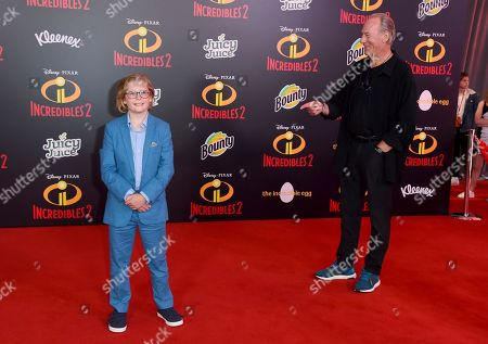 """Huck Milner, Craig T. Nelson. Huck Milner, left, and Craig T. Nelson arrive at the world premiere of """"Incredibles 2"""" at the El Capitan Theatre, in Los Angeles"""