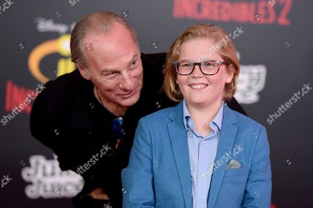 """Huck Milner, Craig T. Nelson. Craig T. Nelson, left, and Huck Milner arrive at the world premiere of """"Incredibles 2"""" at the El Capitan Theatre, in Los Angeles"""