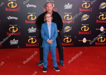 "Stock Image of Huck Milner, Craig T. Nelson. Craig T. Nelson, in background, and Huck Milner arrive at the world premiere of ""Incredibles 2"" at the El Capitan Theatre, in Los Angeles"