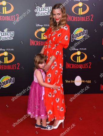 """Jaime King, James Knight Newman. Jaime King, right, and her child James Knight Newman arrive at the world premiere of """"Incredibles 2"""" at the El Capitan Theatre, in Los Angeles"""