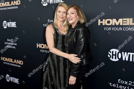 "Claire Danes, Lesli Linka Glatter. Claire Danes, left, and Lesli Linka Glatter attend the ""Homeland"" FYC Event at the Writers Guild Theater, in Beverly Hills, Calif"