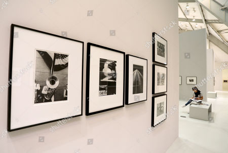 Photos by Swiss-American photographer Robert Frank during a press event at the exhibition 'Street. Life. Photography.' at the Deichtorhallen House of Photography in Hamburg, northern Germany, 06 June 2018. The exhibition showing seven decades street photography from 08 June to 21 October is part of the Triennial of Photography in Hamburg.