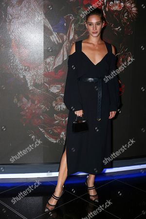 Renee Stewart poses for photographers upon arrival at the premiere of McQueen in central London