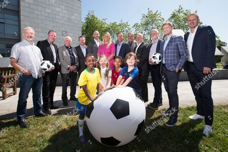 Pictured today (Back Row L-R) Stephen Alkin, Ronnie Whelan, Eamon Dunphy, Darragh Maloney, Richie Sadlier, Jacqui Hurley, Peter Collins, Ger Canning, John Kenny, Adrian Eames, Damien Duff and Didi Hamann. (Front Row L-R) Ayana O Callaghan (aged 8 from Clontarf - Brazil), Carly Kane (aged 6 from Swords - Germany), Jake Farmer (aged 7 from Castleknock - Portugal) and Luke Freeman (aged 6 from Artane -France)