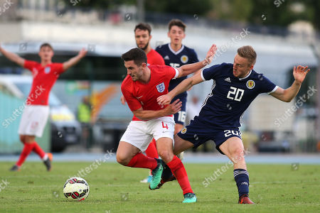 Lewis Cook of England U21's tries to shake off a challenge from Scotland U21's Alan Campbell during Scotland Under-21 vs England Under-21, Tournoi Maurice Revello Football at Stade de Lattre-de-Tassigny on 6th June 2018