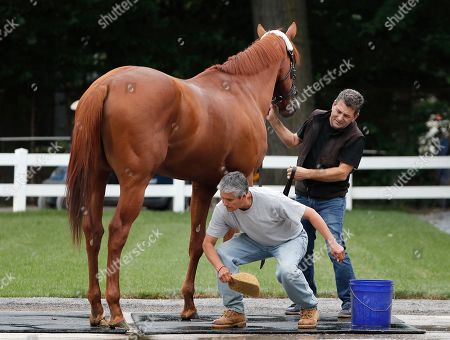 Assistant trainers Jimmy Barnes, right, and Carlos Martin attempt to remove a fly from Justify's leg while wiping him down after arriving at Belmont Park, in Elmont, N.Y. Justify will attempt to become the 13th Triple Crown winner when he races in the 150th running of the Belmont Stakes horse race on Saturday