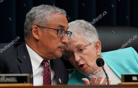 "Virginia Foxx, Bobby Scott. House Education and Workforce Committee Chair Rep. Virginia Foxx, R-N.C., right, and ranking member Rep. Bobby Scott, D-Va., left, talk as Health and Human Services Secretary Alex Azar, testifies during a House Education and Workforce Committee hearing on ""Examining the Policies and Priorities of the U.S. Department of Health and Human Services,"" Capitol Hill in Washington"