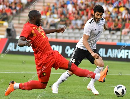 Belgium's Romelu Lukaku, left, goes after the ball against Egypt's Ali Gabr during a friendly soccer match between Belgium and Egypt at the King Baudouin stadium in Brussels