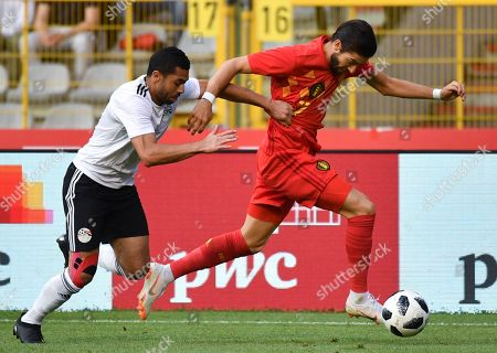 Belgium's Youri Tielemans, right, is chased by Egypt's Ahmed Fathy during a friendly soccer match between Belgium and Egypt at the King Baudouin stadium in Brussels