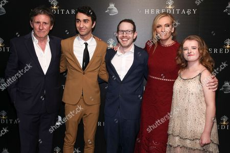 """Gabriel Byrne, Alex Wolff, Ari Aster, Toni Collette, Milly Shapiro. Gabriel Byrne, from left, Alex Wolff, Ari Aster, Toni Collette and Milly Shapiro attend a special screening of """"Hereditary"""" at Metrograph, in New York"""