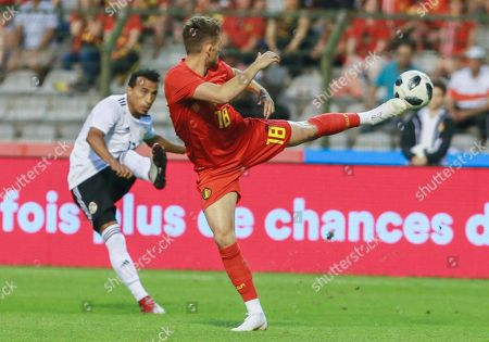 Ayman Ashraf of Egypt and Adnan Januzaj of Belgium (R) fight for the ball during a friendly soccer match between Belgium and Egypt at the King Baudouin stadium in Brussels, Belgium, 6 June 2018.